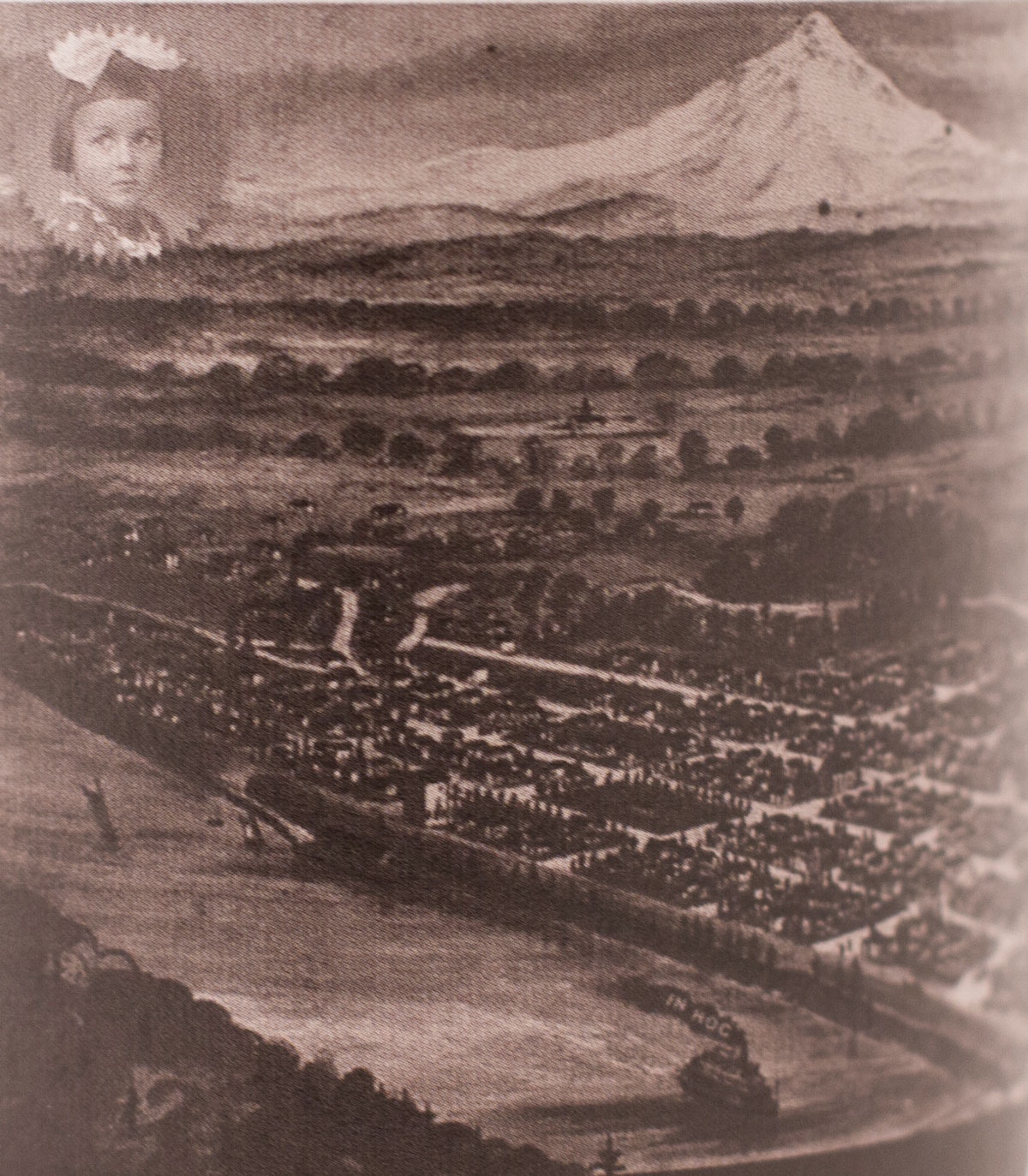 Historical map of Salem, Oregon with city and river in foreground and mountain in background